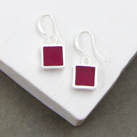SQUARE INLAY RESIN EARRINGS RED PINK